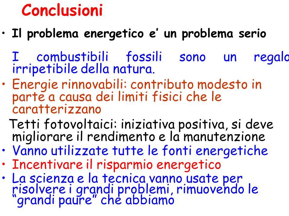 Conclusioni Il problema energetico e' un problema serio. I combustibili fossili sono un regalo irripetibile della natura.