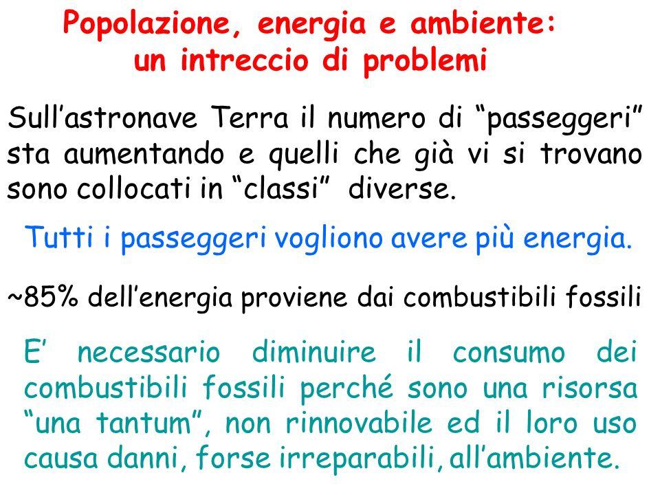 Popolazione, energia e ambiente: un intreccio di problemi