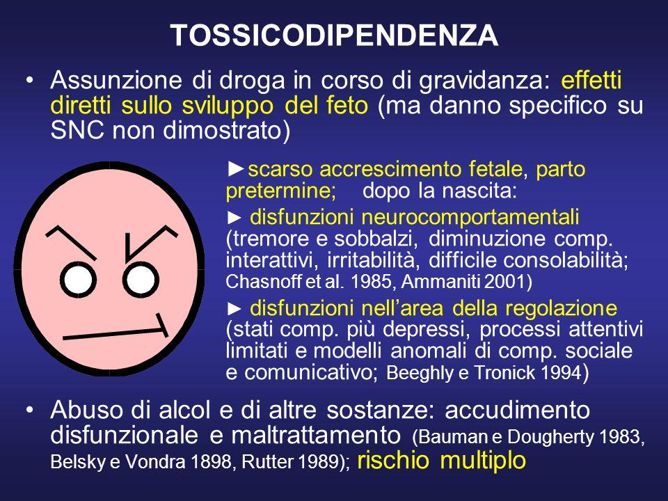 TOSSICODIPENDENZA Assunzione di droga in corso di gravidanza: effetti diretti sullo sviluppo del feto (ma danno specifico su SNC non dimostrato)