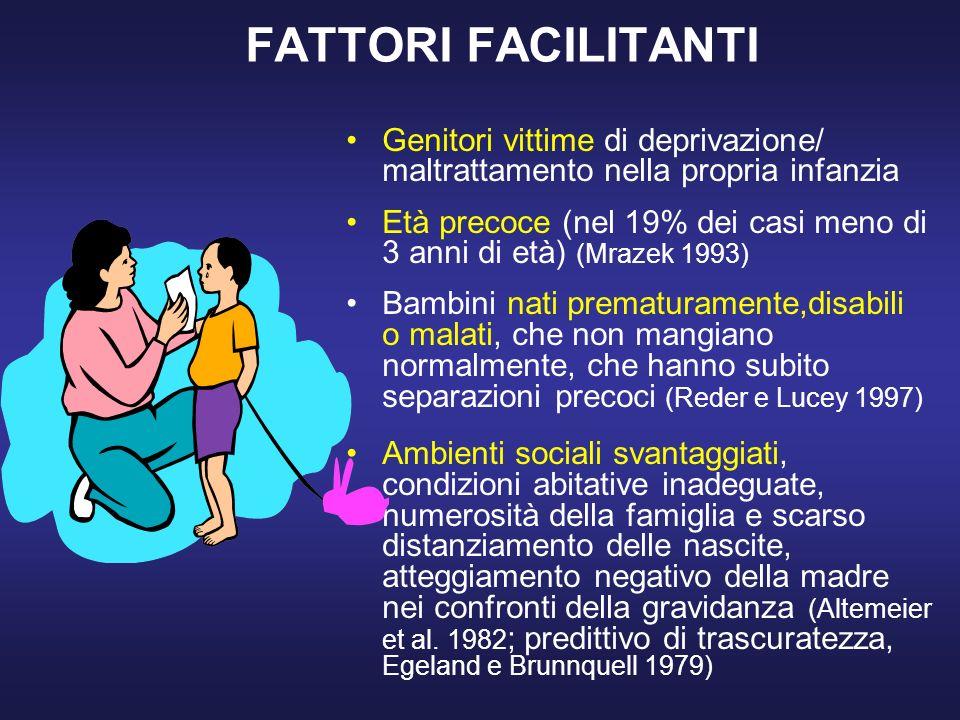 FATTORI FACILITANTI Genitori vittime di deprivazione/ maltrattamento nella propria infanzia.