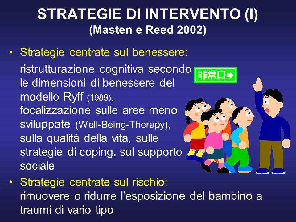 STRATEGIE DI INTERVENTO (I) (Masten e Reed 2002)