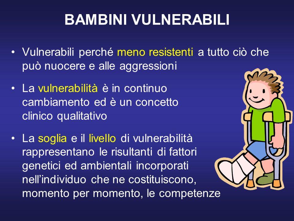 BAMBINI VULNERABILI Vulnerabili perché meno resistenti a tutto ciò che può nuocere e alle aggressioni.