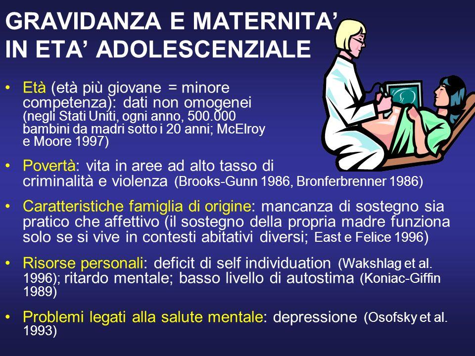 GRAVIDANZA E MATERNITA' IN ETA' ADOLESCENZIALE