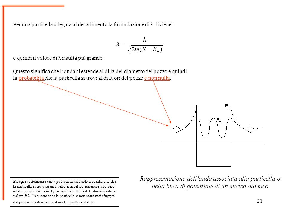 Per una particella α legata al decadimento la formulazione di λ diviene:
