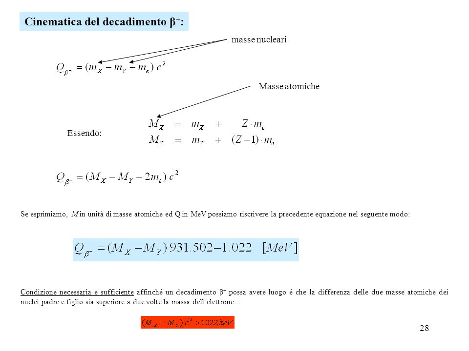 Cinematica del decadimento β+: