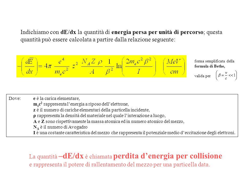 Indichiamo con dE/dx la quantità di energia persa per unità di percorso; questa quantità può essere calcolata a partire dalla relazione seguente: