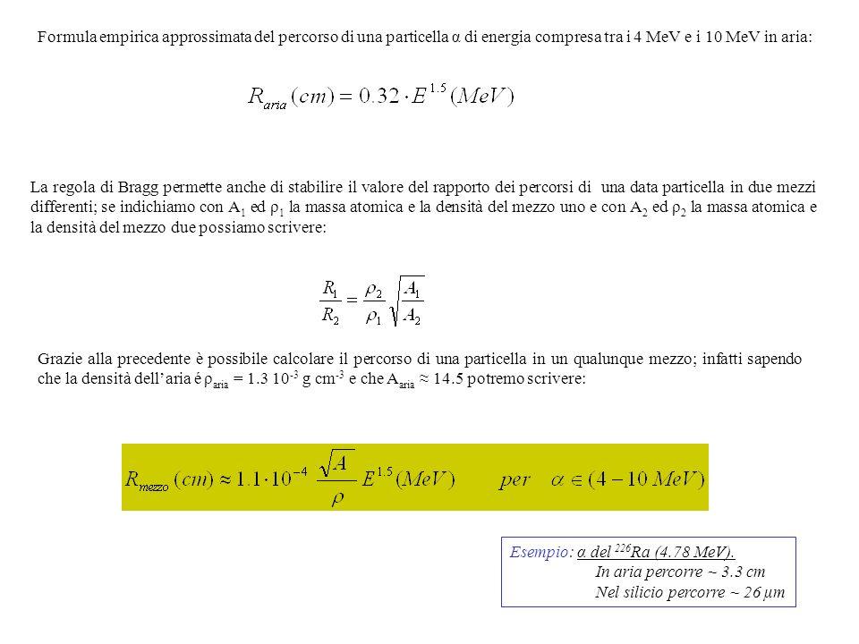 Formula empirica approssimata del percorso di una particella α di energia compresa tra i 4 MeV e i 10 MeV in aria: