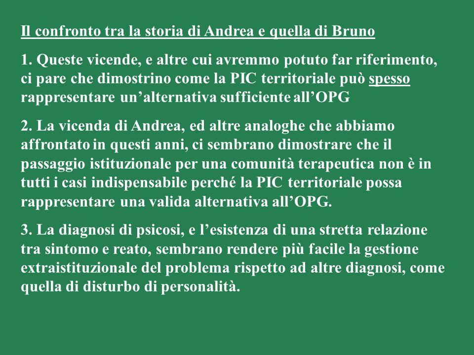 Il confronto tra la storia di Andrea e quella di Bruno