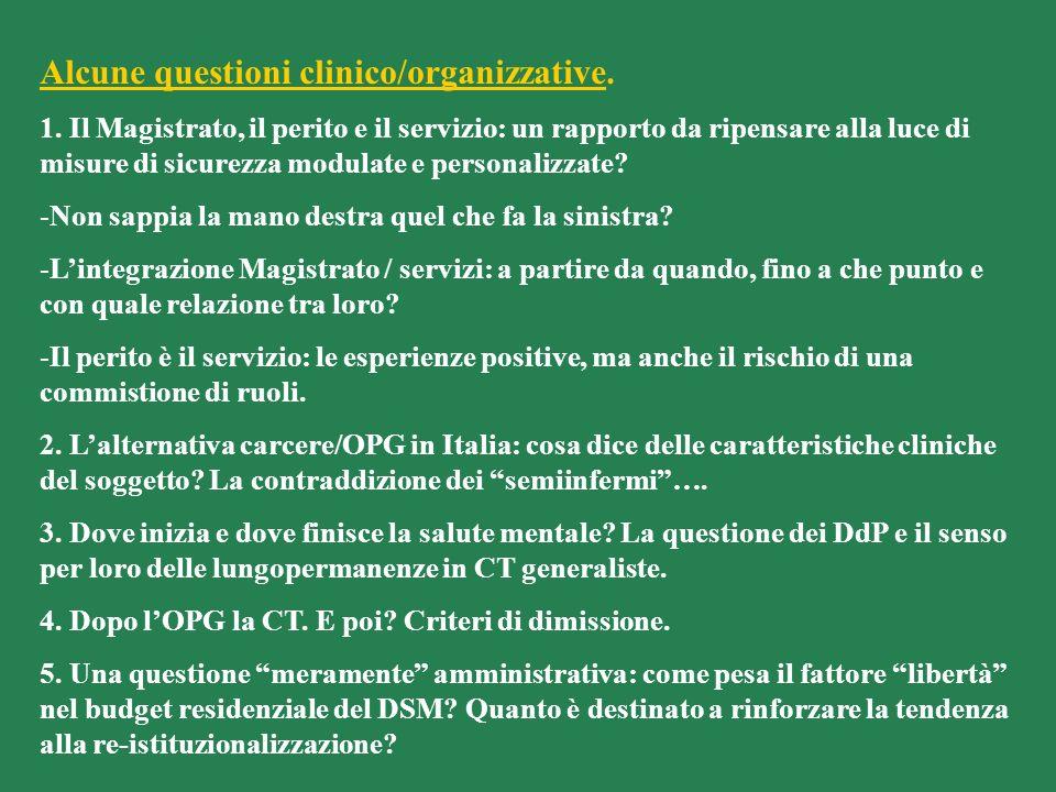 Alcune questioni clinico/organizzative.