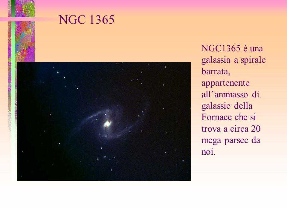 NGC 1365 NGC1365 è una galassia a spirale barrata, appartenente all'ammasso di galassie della Fornace che si trova a circa 20 mega parsec da noi.