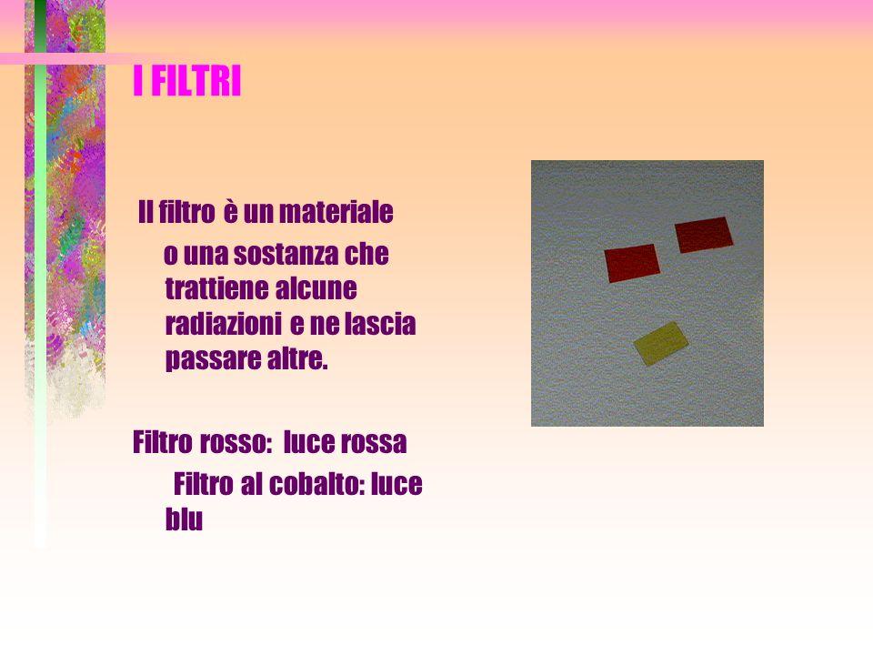I FILTRI Il filtro è un materiale