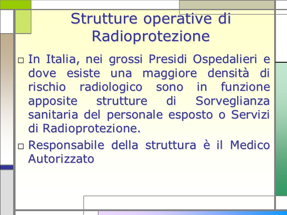 Strutture operative di Radioprotezione