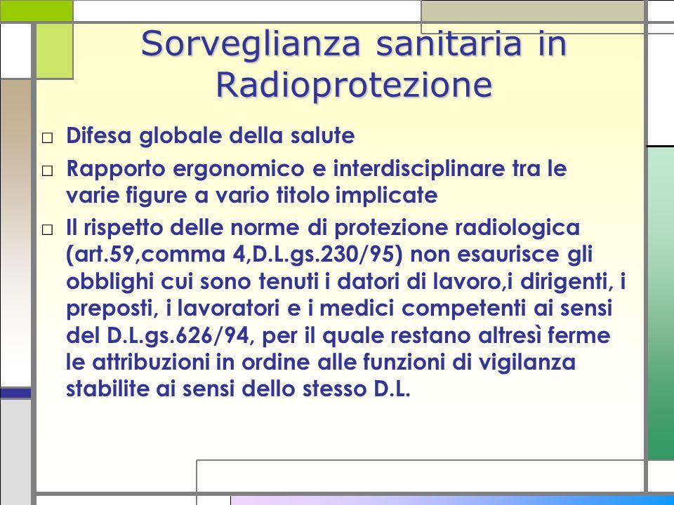 Sorveglianza sanitaria in Radioprotezione