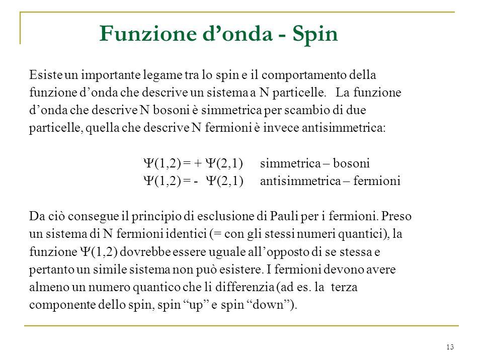 Funzione d'onda - Spin Esiste un importante legame tra lo spin e il comportamento della.