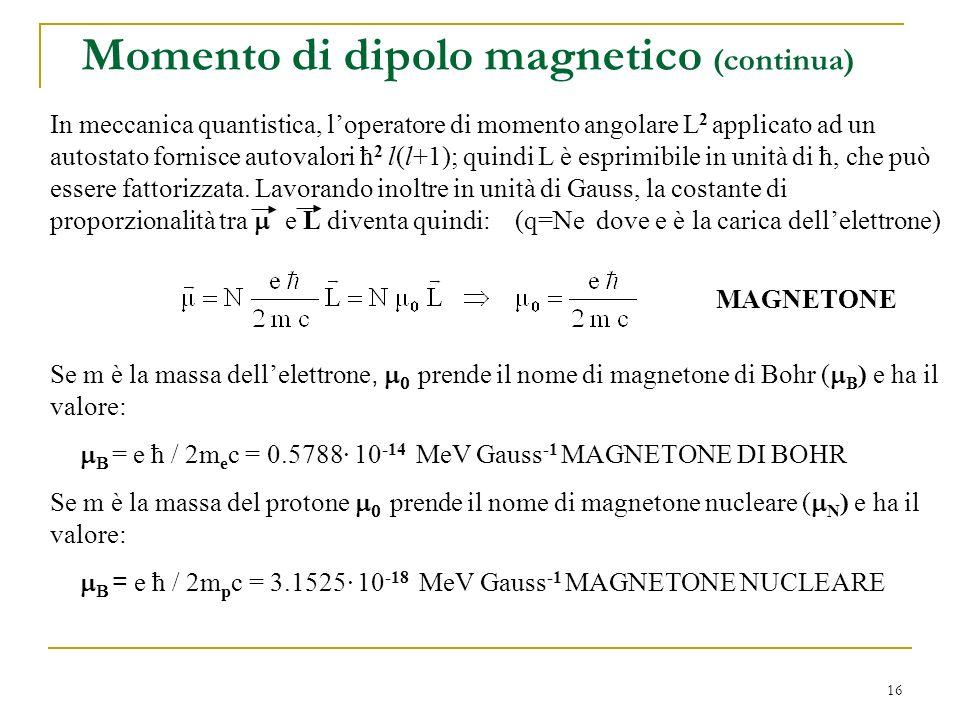 Momento di dipolo magnetico (continua)