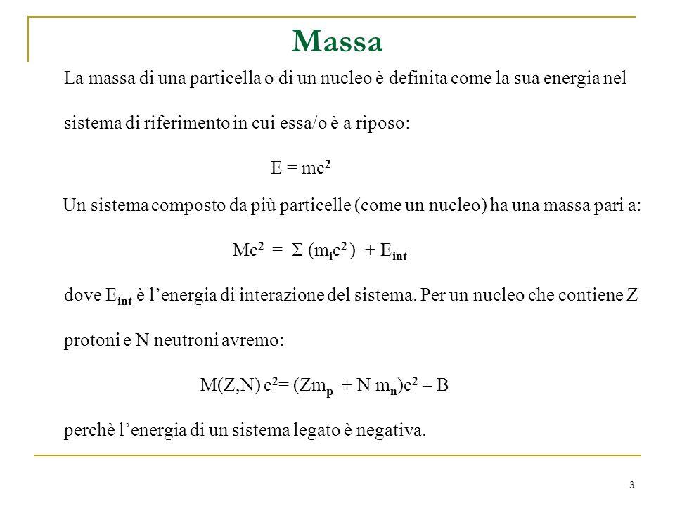 Massa La massa di una particella o di un nucleo è definita come la sua energia nel. sistema di riferimento in cui essa/o è a riposo: