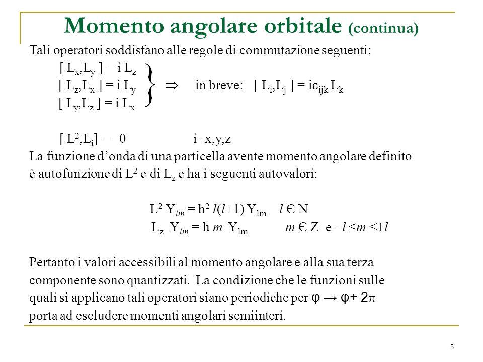 Momento angolare orbitale (continua)