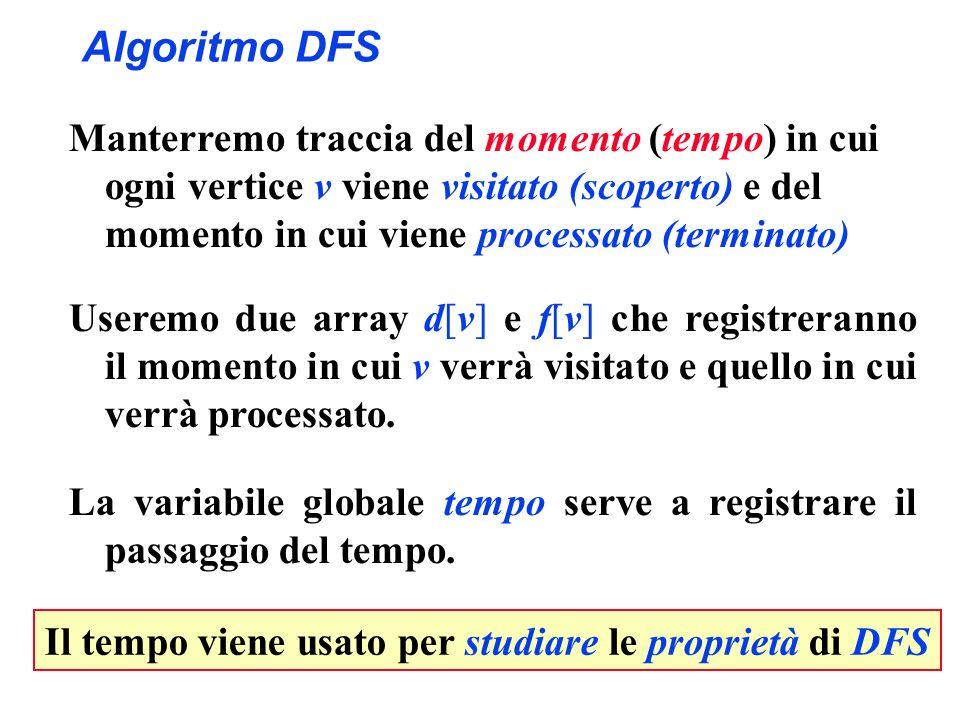 Il tempo viene usato per studiare le proprietà di DFS