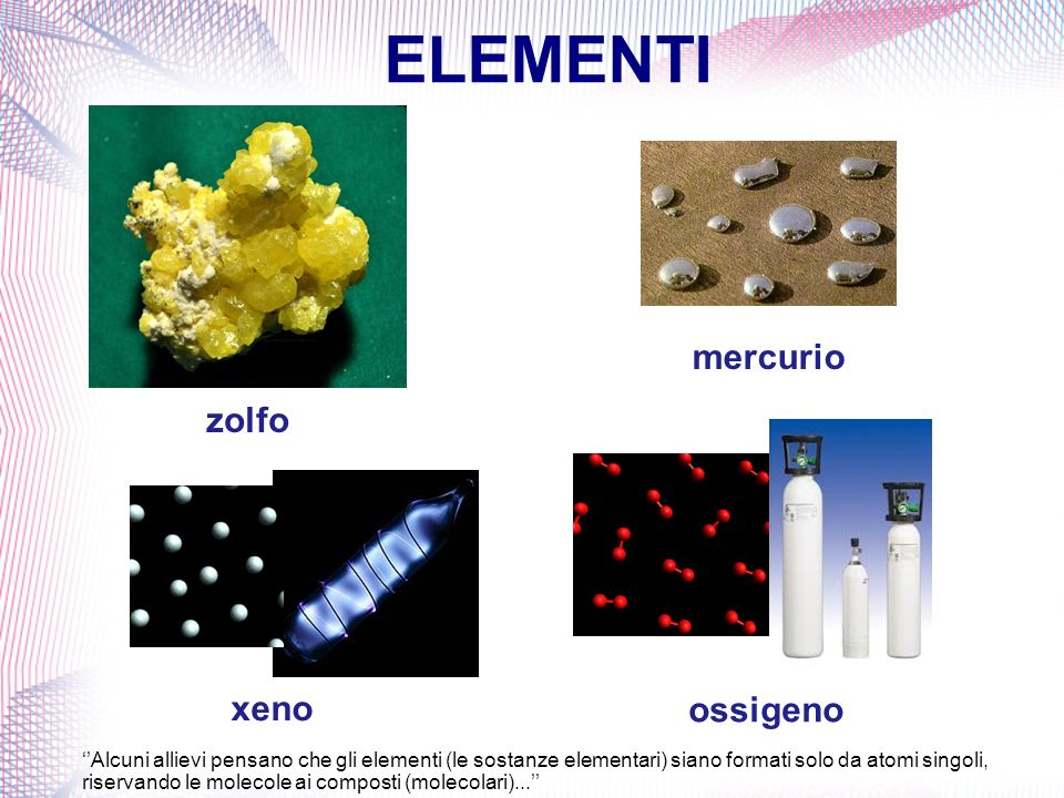 ELEMENTI mercurio zolfo xeno ossigeno