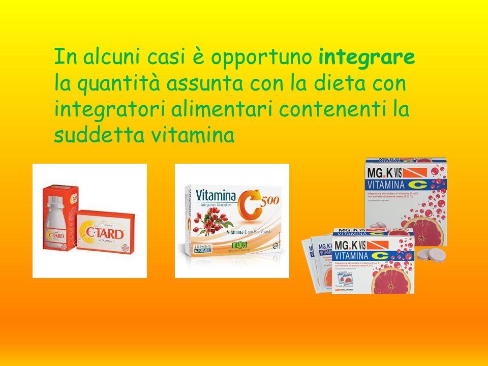 In alcuni casi è opportuno integrare la quantità assunta con la dieta con integratori alimentari contenenti la suddetta vitamina