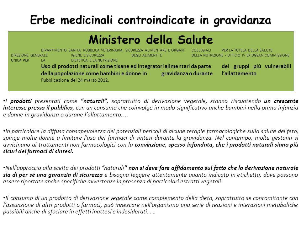 Erbe medicinali controindicate in gravidanza Ministero della Salute