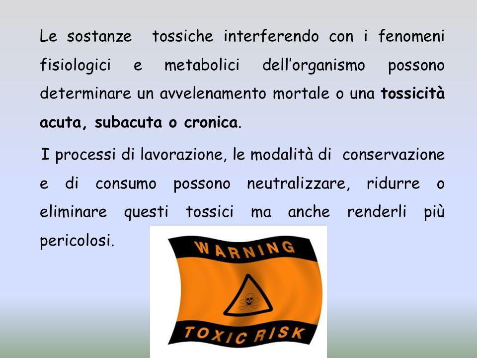 Le sostanze tossiche interferendo con i fenomeni fisiologici e metabolici dell'organismo possono determinare un avvelenamento mortale o una tossicità acuta, subacuta o cronica.