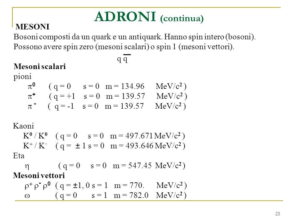 ADRONI (continua) MESONI