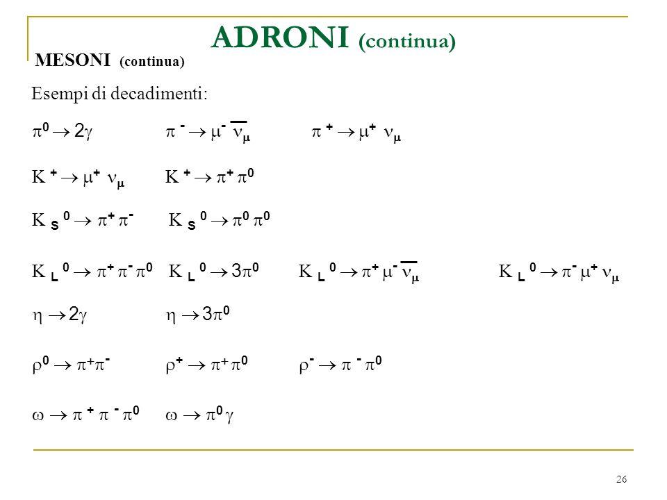 ADRONI (continua) MESONI (continua) Esempi di decadimenti:
