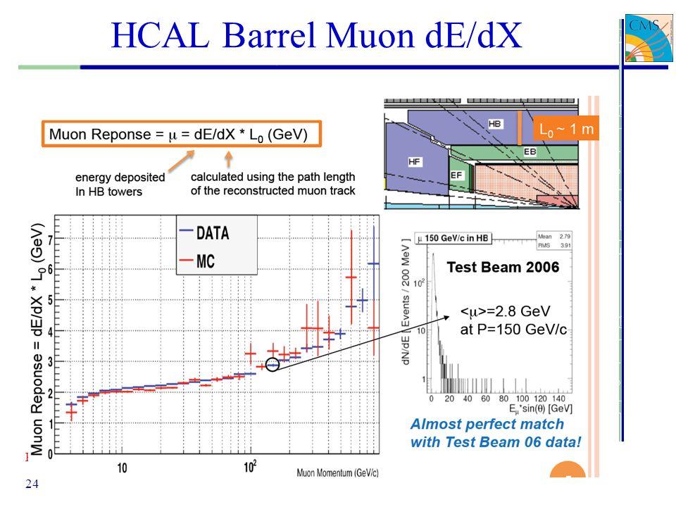 HCAL Barrel Muon dE/dX Pierluigi Paolucci