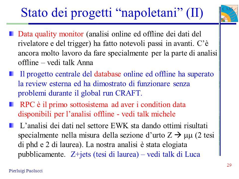 Stato dei progetti napoletani (II)