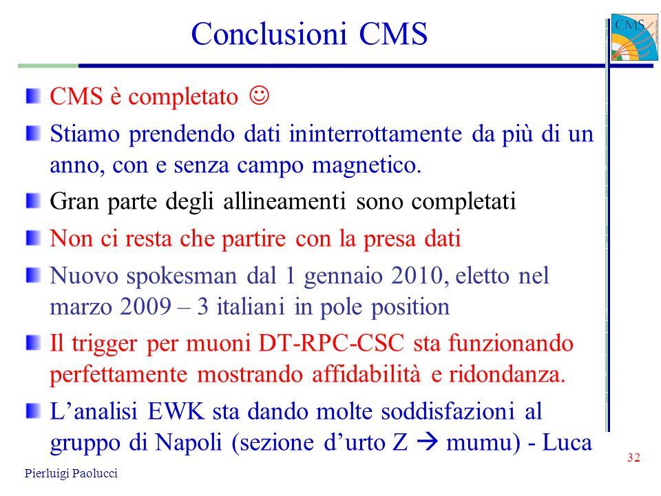 Conclusioni CMS CMS è completato 