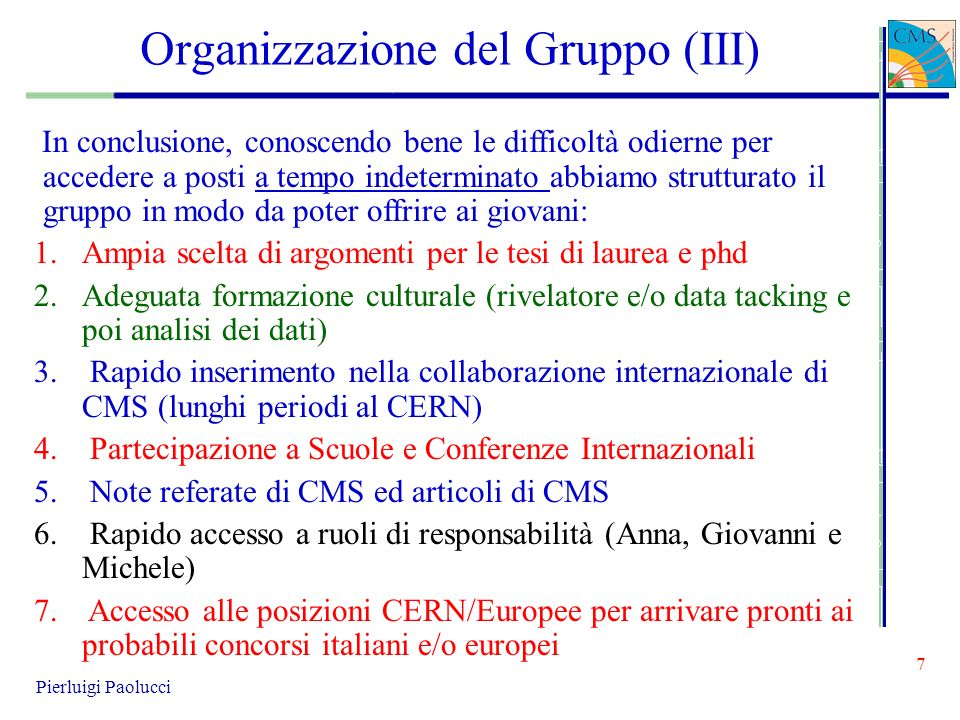 Organizzazione del Gruppo (III)