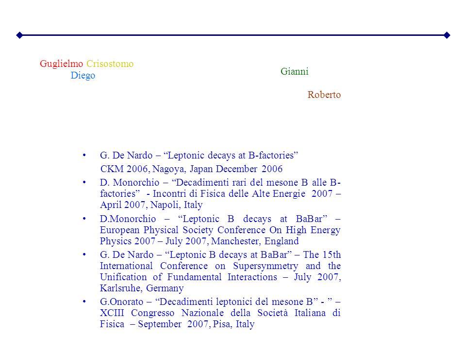 Guglielmo Crisostomo. Gianni. Diego. Roberto. G. De Nardo – Leptonic decays at B-factories CKM 2006, Nagoya, Japan December 2006.