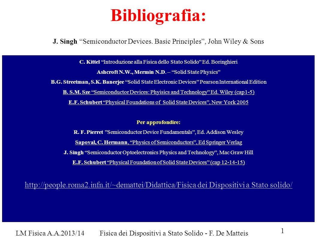 Bibliografia: J. Singh Semiconductor Devices