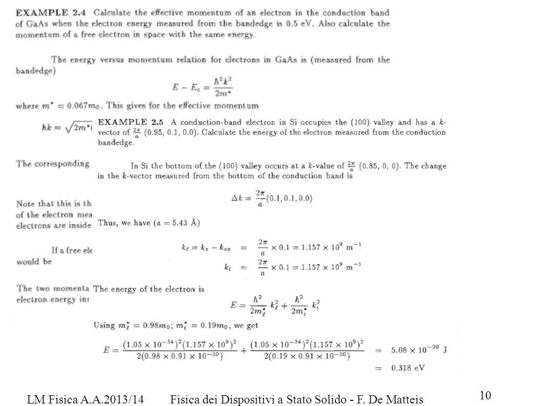 LM Fisica A.A.2013/14 Fisica dei Dispositivi a Stato Solido - F. De Matteis