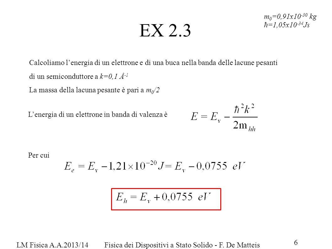 EX 2.3m0=0,91x10-30 kg. ħ=1,05x10-34Js.