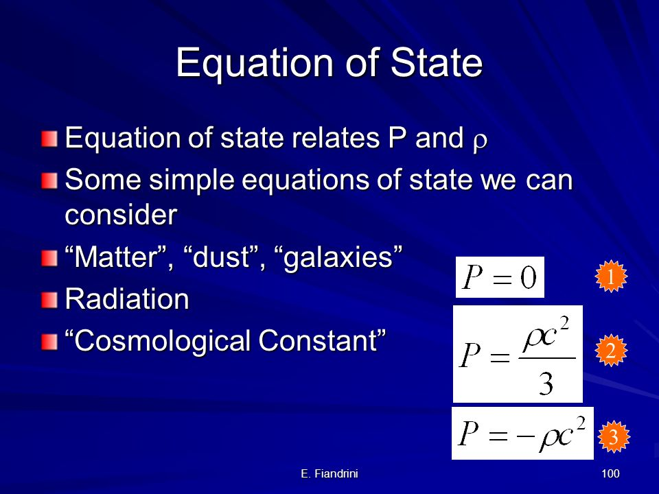 Equation of State Equation of state relates P and r