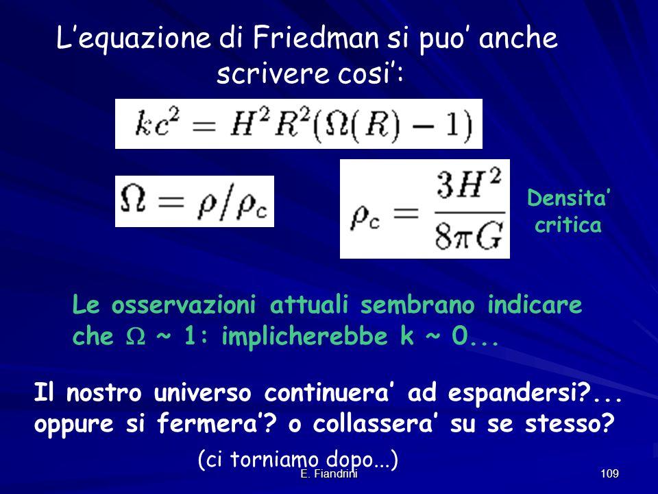 L'equazione di Friedman si puo' anche