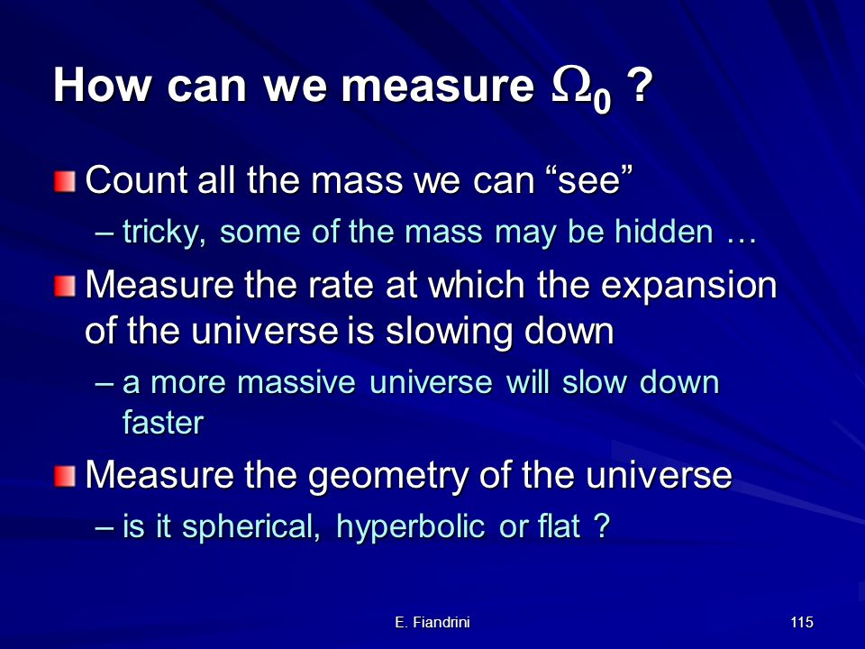 How can we measure 0 Count all the mass we can see