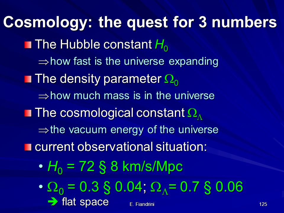 Cosmology: the quest for 3 numbers