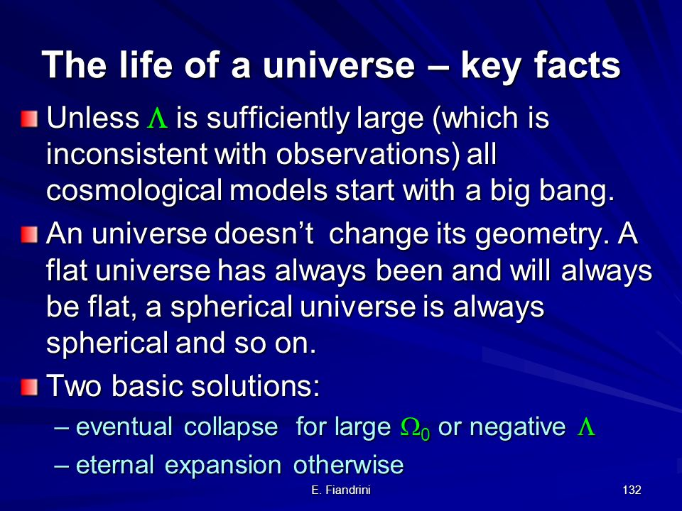 The life of a universe – key facts