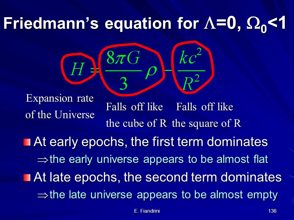 Friedmann's equation for =0, 0<1