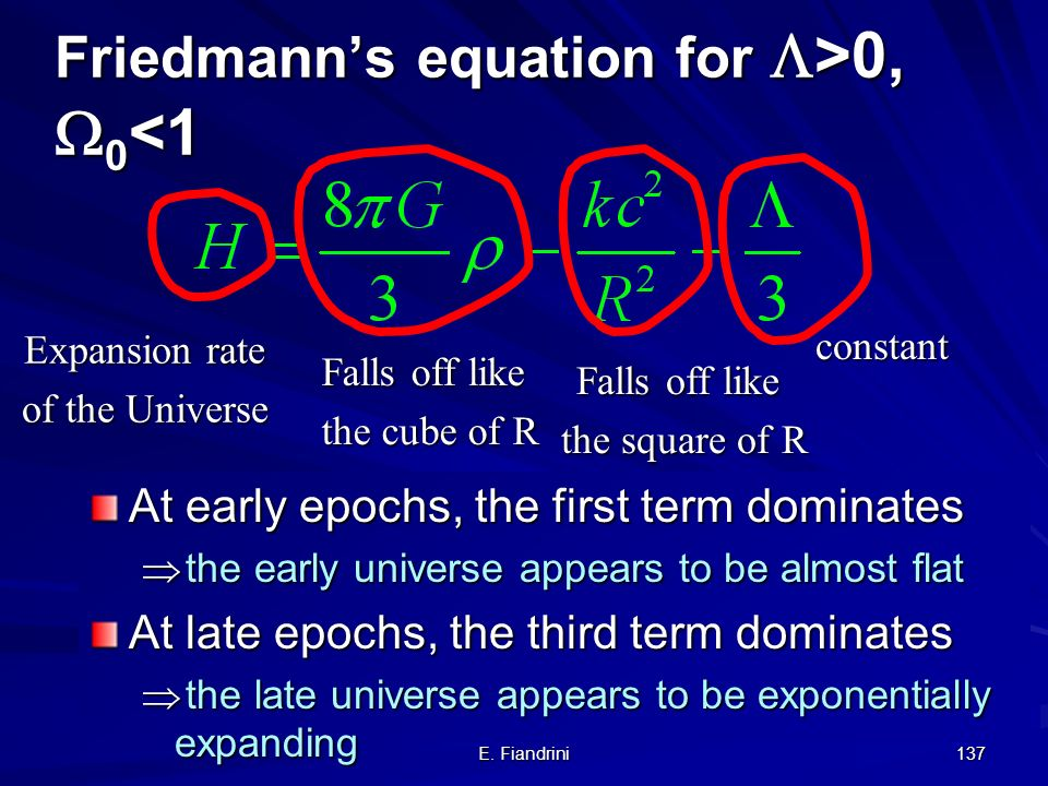 Friedmann's equation for >0, 0<1