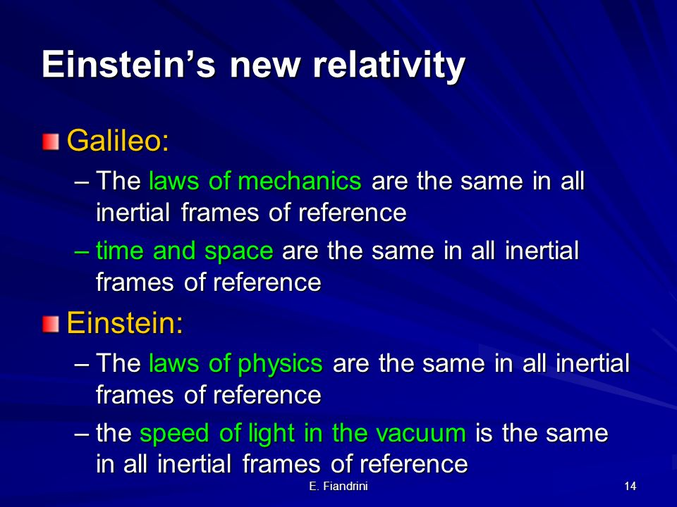 Einstein's new relativity