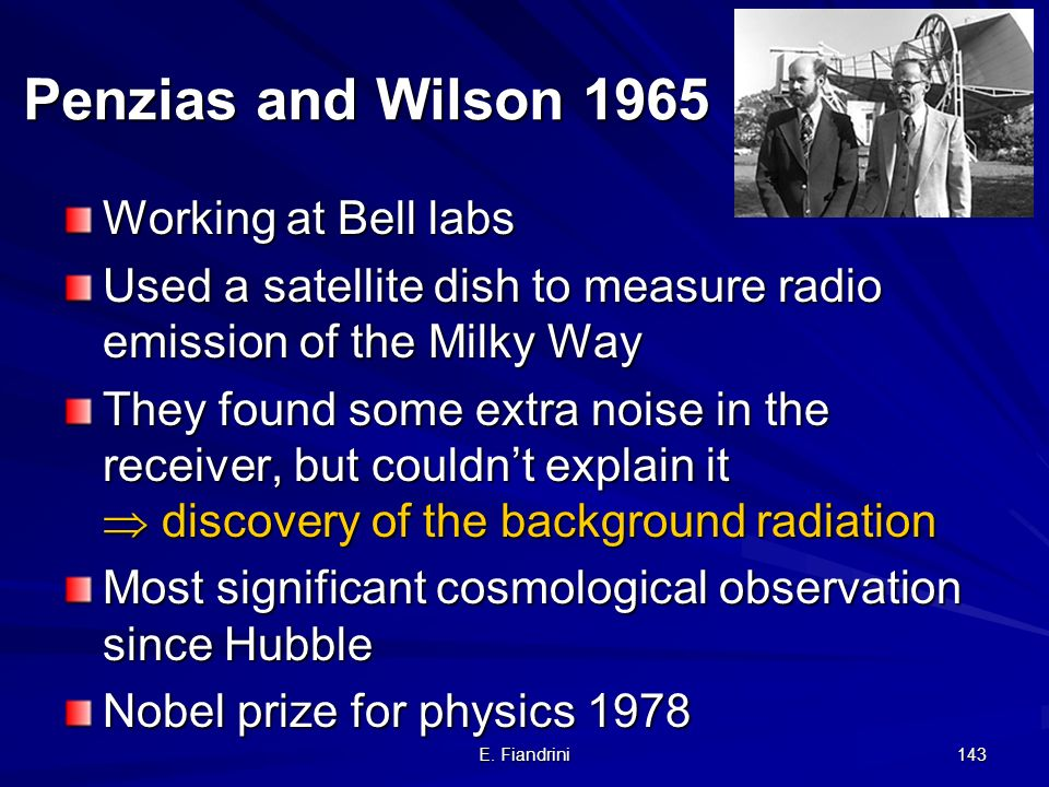 Penzias and Wilson 1965 Working at Bell labs
