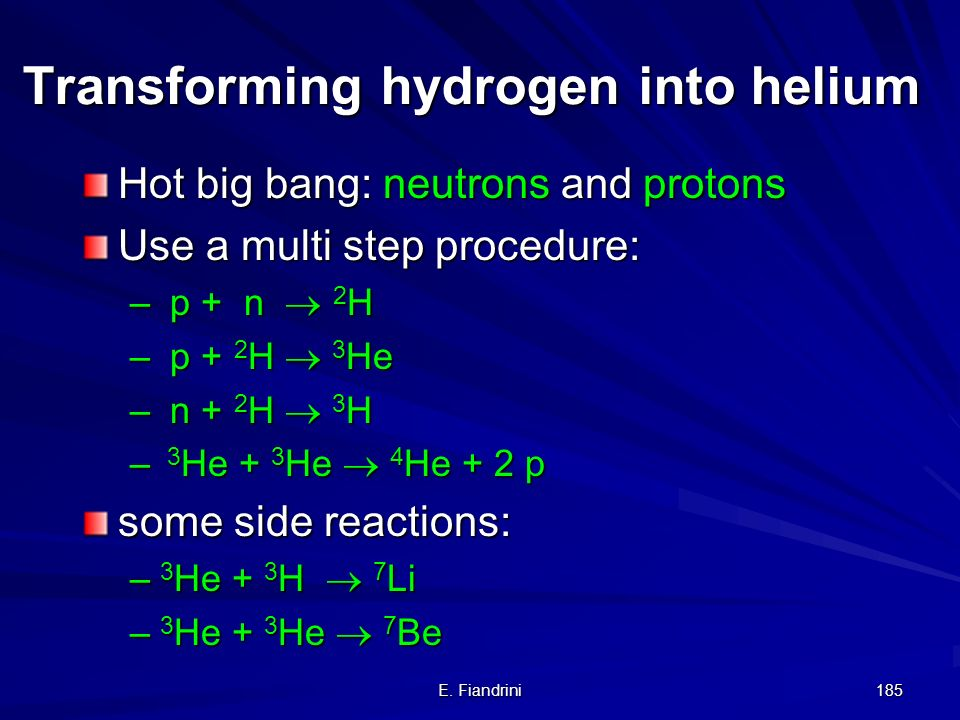 Transforming hydrogen into helium