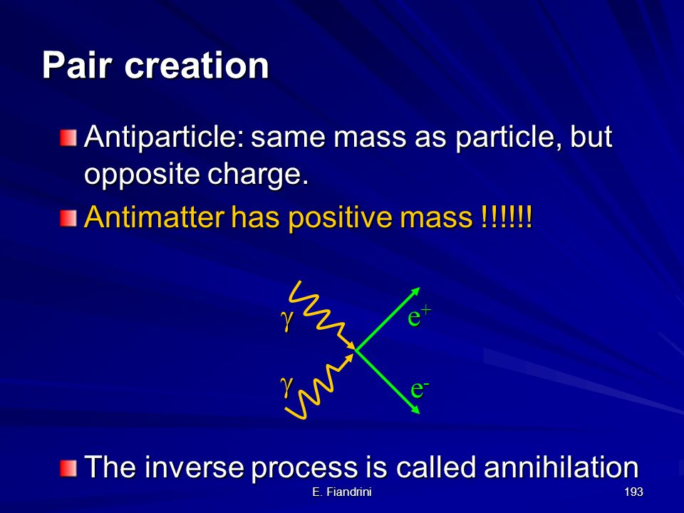 Pair creation Antiparticle: same mass as particle, but opposite charge. Antimatter has positive mass !!!!!!