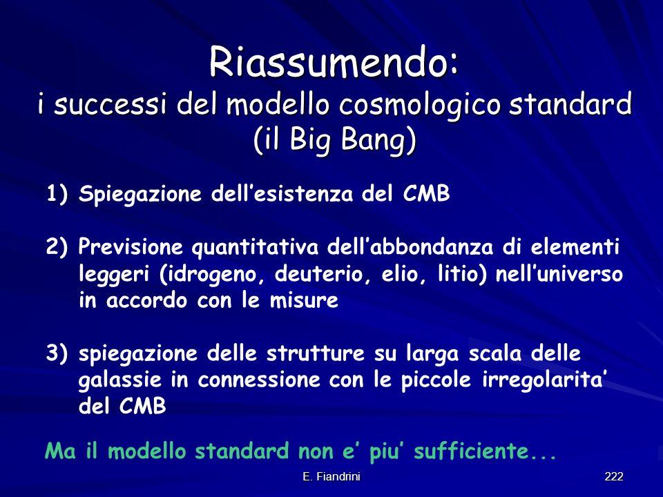 Riassumendo: i successi del modello cosmologico standard (il Big Bang)