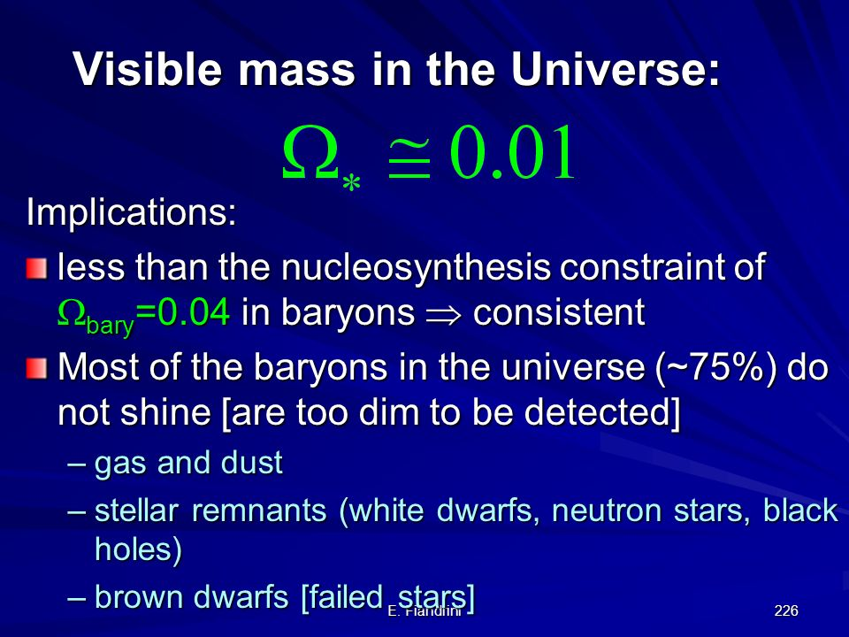 Visible mass in the Universe: