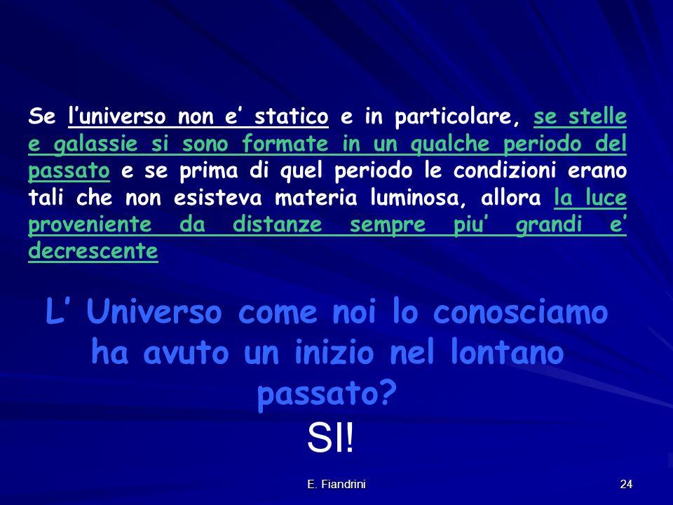 Se l'universo non e' statico e in particolare, se stelle e galassie si sono formate in un qualche periodo del passato e se prima di quel periodo le condizioni erano tali che non esisteva materia luminosa, allora la luce proveniente da distanze sempre piu' grandi e' decrescente